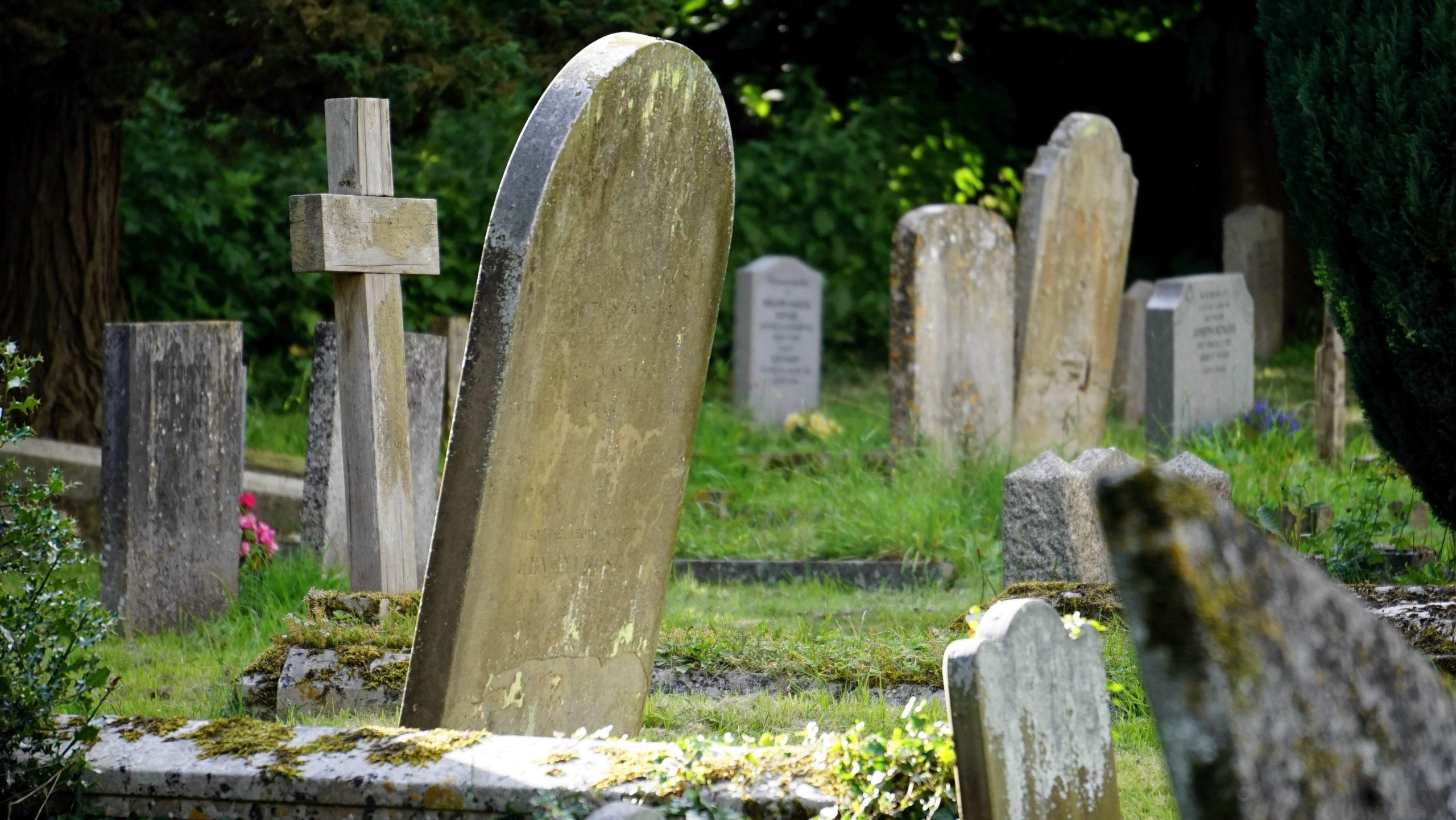 Abbigliamento per defunti su Newslandia - l'immagine mostra alcune tombe in un cimitero
