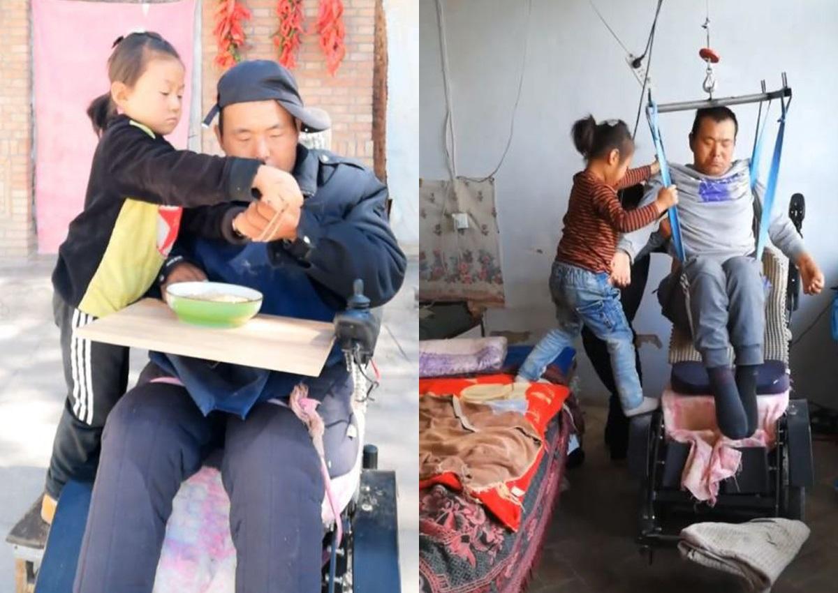 A 6 anni si occupa del padre disabile dopo l'abbandono della madre