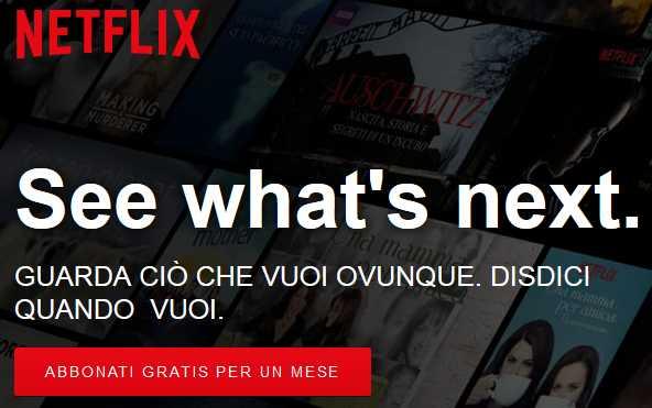 Netflix 1 mese gratis di prova